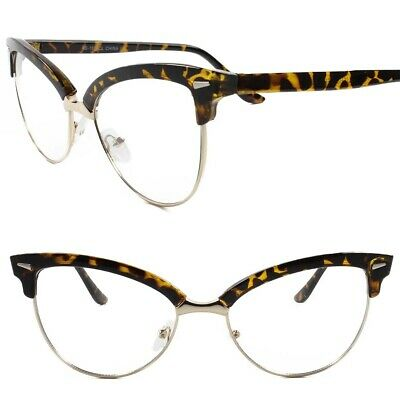Classic Vintage Retro Cat Eye Style Clear Lens Eye Glasses Tortoise & Gold (Gold Cat Eye Glasses)