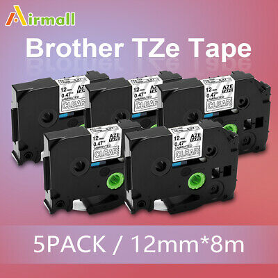 5pk Tze-135 Tz 135 Replace Brother Label Maker Tape P-touch 12mm White On Clear
