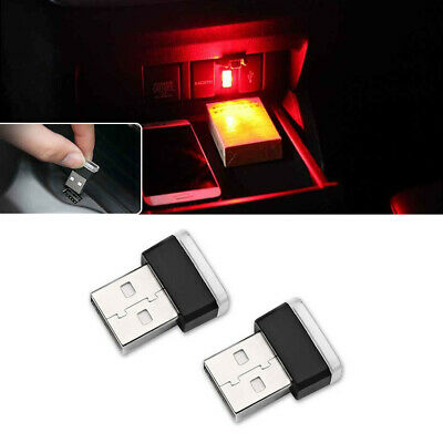 2PCS Brilliant Red Miniature USB LED Atmosphere Lamps Car Interior Lighting Kit