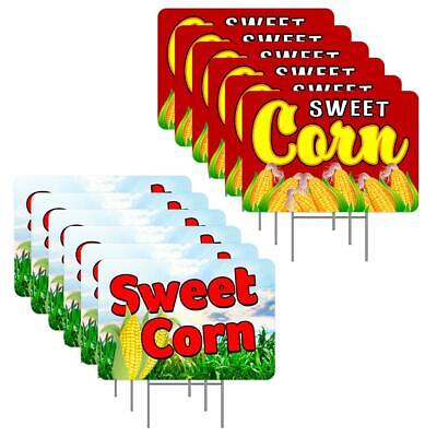 Sweet Corn 12 Pack Yard Sign - Each Is 24 X 16 With Metal Stake One Side Pri