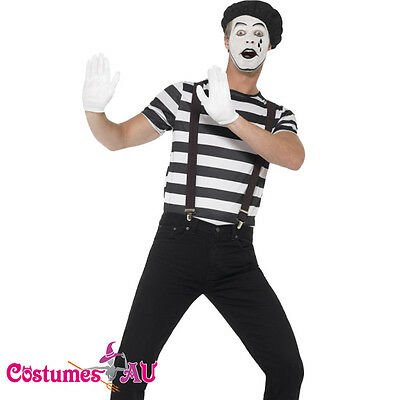 Gentleman Mime French Artist Costume Circus Act Mens Fancy Dress Outfit - Mime Outfit