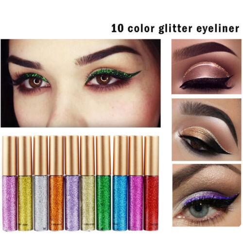 Color Waterproof Shiny Eyeshadow Glitter Liquid Eyeliner Beauty Makeup Eye Liner