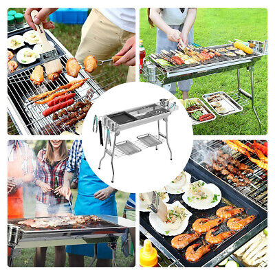 Portable Foldable Barbecue Charcoal Grill BBQ Set Stainless Steel Smoker Grill