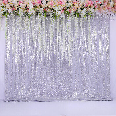 60''x84'' Sequin Backdrop Silver Background Curtain Wedding Party Birthday - Curtain Background