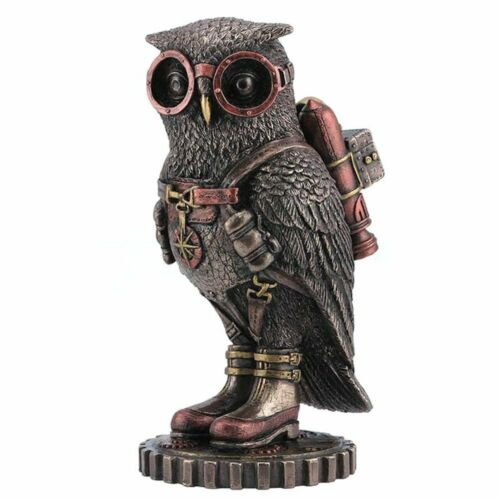 Steampunk Owl With Jetpack Statue Sculpture on Gears