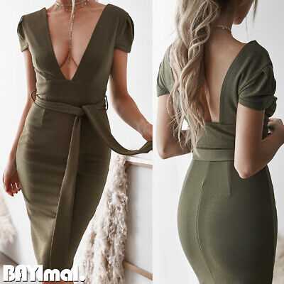 Women Sexy V Neck Backless Midi Dress Ladies Casual Party Belted Bodycon Dresses