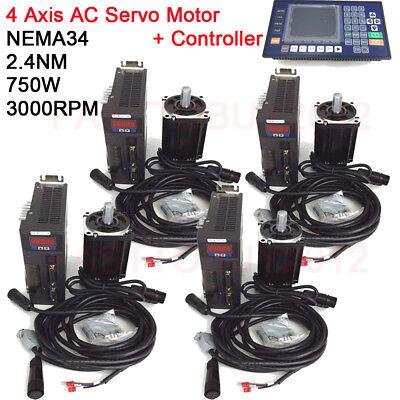 4 Axis 750w Ac Servo Motor Drive Nema34 2.4nm Cnc Controller Kit For Cnc Milling