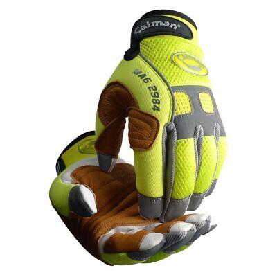 Caiman 2984 - Goat Grain Hi-vis Back Palm Patched Rappelling Mechanics Gloves