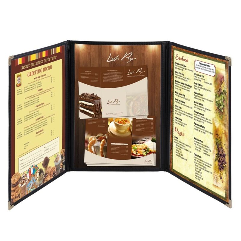 30 Menu Cover 8.5X14 6 View Triple Fold Double Stitch Trim Cafe Restaurant Black