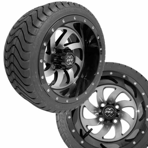 "Golf Cart 12"" PHANTOM Machined/Black Wheels on 215/35-12 Venom Streets Set"