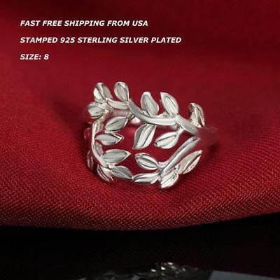 925 Sterling Silver Leaf Ring - Women Fashion Jewelry 925 Sterling Silver Plated Size 8 Leaf Ring Thumb Finger