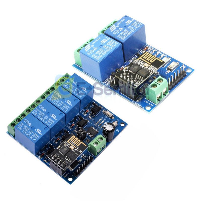 5V/12V ESP8266 ESP-01 2 /4-Channel WiFi Relay Module For IOT Smart Home APP E