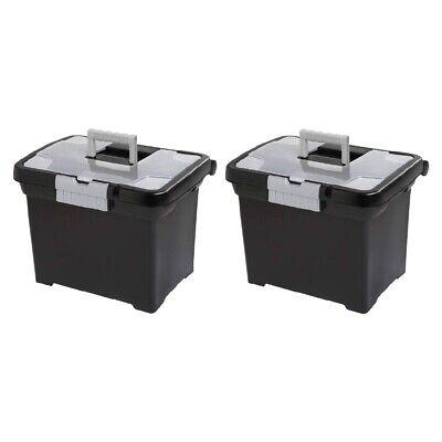 Sterilite 1871 Portable File Box Storage Handle And Compartment Black 2-pack