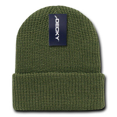Olive Green GI BEANIE HAT Cuffed Knit Winter Watch Cap ski snowboard army skully
