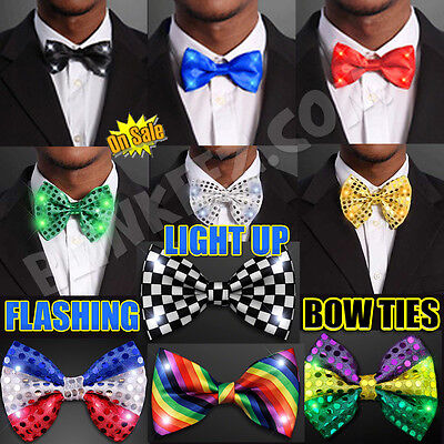 Light Up LED Flashing Blinking Bow Ties - Several Colors to - Light Up Bow Ties