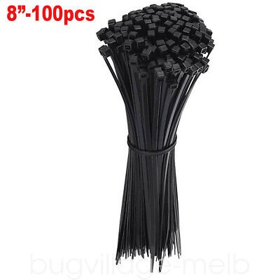 100 Pcs 8 Nylon Cable Zip Ties Black Heavy Duty Plastic Wrap Wire Cord Strap