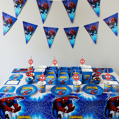 Spiderman Paper Cups (Spider Man Birthday Theme Party Decoration Tableware Range Banner Plates)
