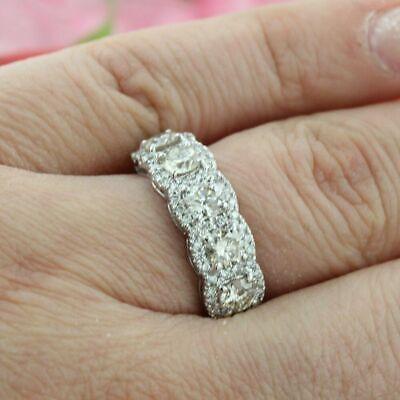 Brilliant Cut 5 Stone Moissanite Engagement Wedding Band 14K White Gold Finish