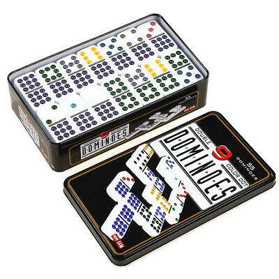 Double Nine 9 Doble Nueve Dominoes Traditional Board Game Color Dots New.