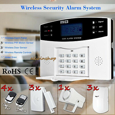 Wireless LCD GSM SMS People's home Security Burglar House Fire Alarm System Auto Dialer