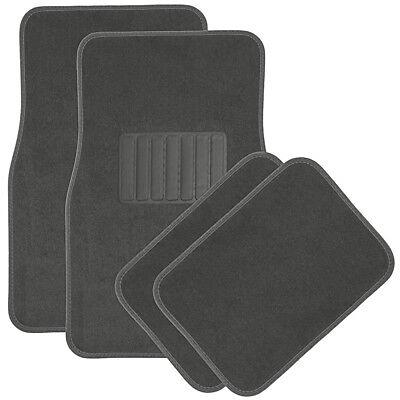 Car Floor Mats for Auto 4pc Carpet Semi Custom Fit Heavy Duty w/Heel Pad Grey