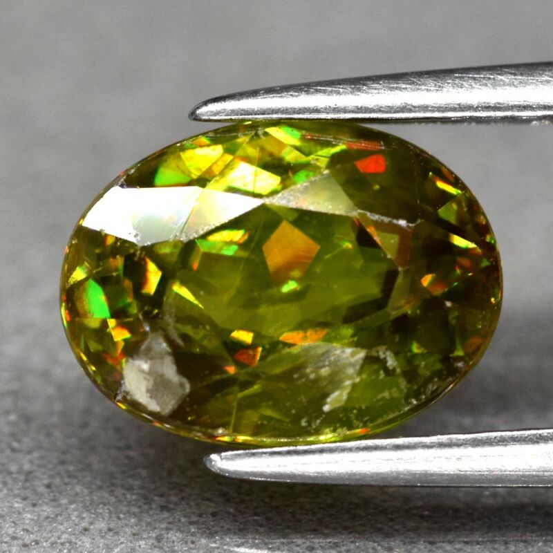 2.67ct 9.3x7mm Oval Natural Greenish Yellow Sphene, Diamond Luster
