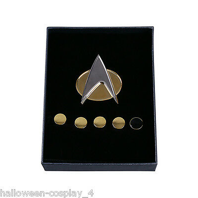 Star Trek Badge The Next Generation Magnetic Communicator Badge And Rank Pin Set