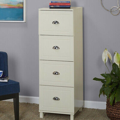 Filing Cabinet 4-drawer Engineered Wood With Half Moon Handles Antique White Fin