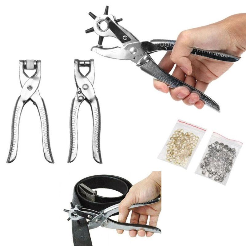 3 Pc Leather Belt Hole Punch Eyelet Plier Snap Button Grommet Setter Tool Kit