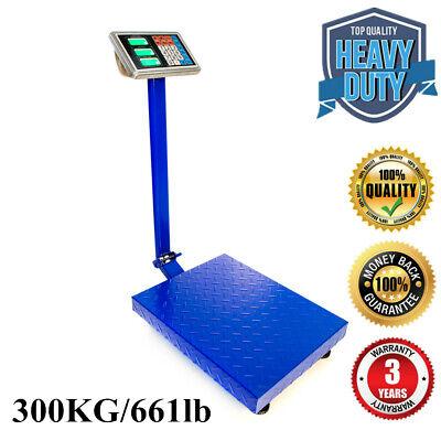 Heavy Duty 300kg661lb Weight Lcd Digital Floor Postal Platform Scale Blue R1x8