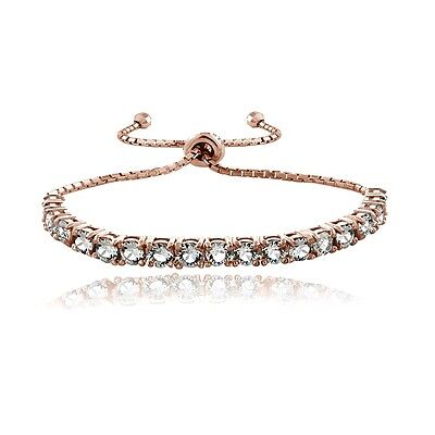18K Rose Gold over Sterling Silver Swarovski Elements Adjustable Bracelet