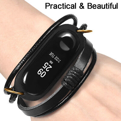 Retro Leather Braided Wristband Replace Bracelet Strap Band For Xiaomi Mi Band 3 Braided Leather Strap Watch