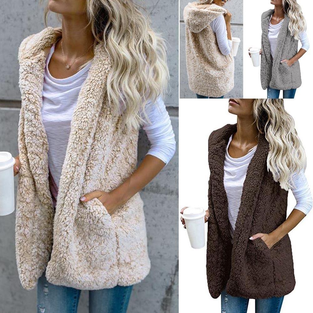 Womens Vest Warm Jacket Hoodie Outwear Faux Fur Zip Up Sherpa Casual Coat ca