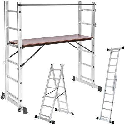 Escalera de Aluminio Multiusos Andamio Patas con Protector Goma 160x70x165cm