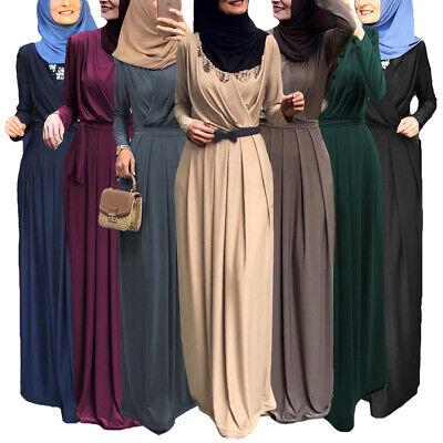 Ramadan Muslim Women Long Maxi Dress Islamic Dubai Kaftan Abaya Long Robe Jilbab