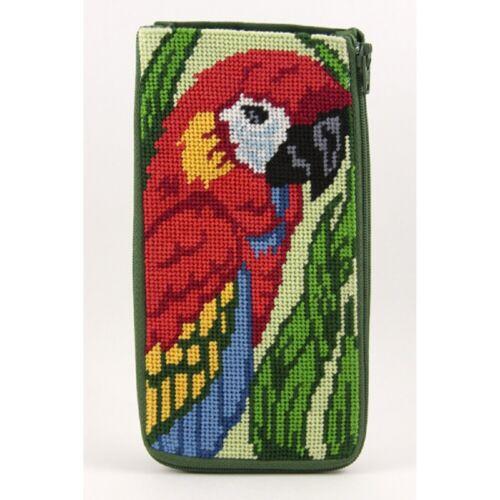 Stitch & Zip Needlepoint Eyeglass Case Kit - Parrot
