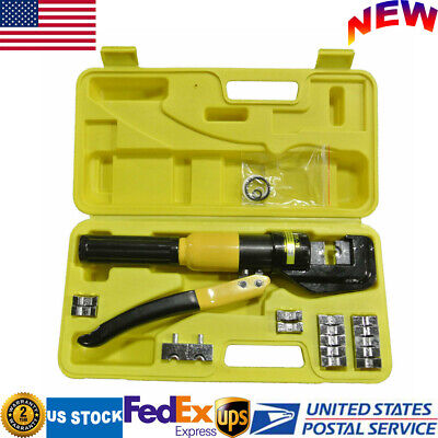 New 10 Ton Hydraulic Pliers Set Wire Cable Crimper Crimping Tool Kit With 9 Dies