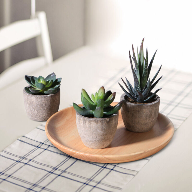 3X Artificial Succulent Plants Fake in Pots Mini Faux Grass