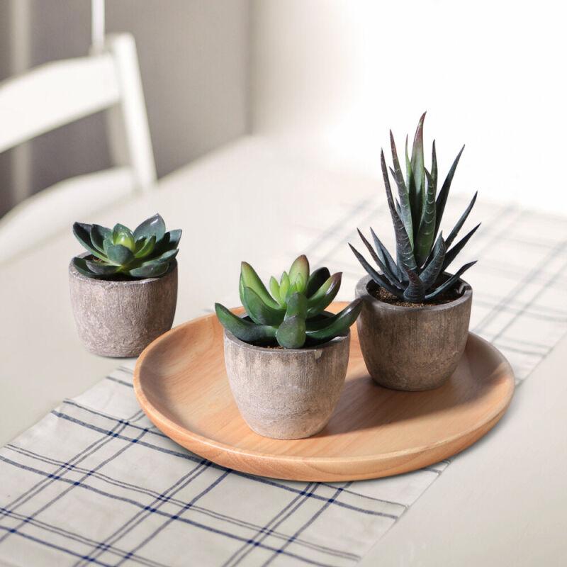 3X Artificial Succulent Plants Fake in Pots Mini Faux Grass
