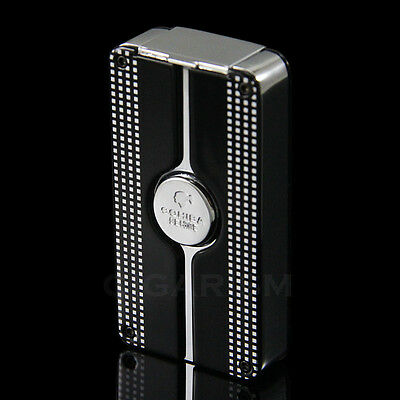 COHIBA Black Behike Classic 3 Torch Jet Flame Cigar Lighter W/ Punch New Design
