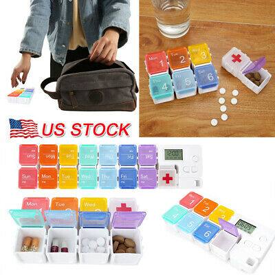 Pill Case Alarm - Portable Pill Storage Medicine Case Alarm Timer Clock Elder Reminder Pill Box US