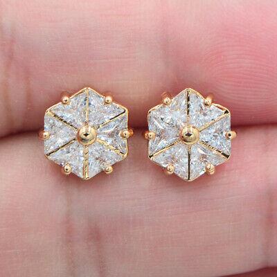 18K Yellow Gold Filled Women Clear Topaz Fashion Geometric Hexagon Stud -