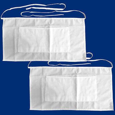 2 Pack - Half Size Apron Bib Bistro Bar Cafe Pub Waiter Waitress - White