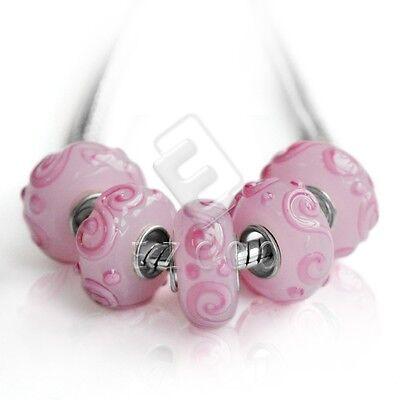 5stk.Silber Muranoglas Perlen Lampwork Großlochperlen European Beads LB0152