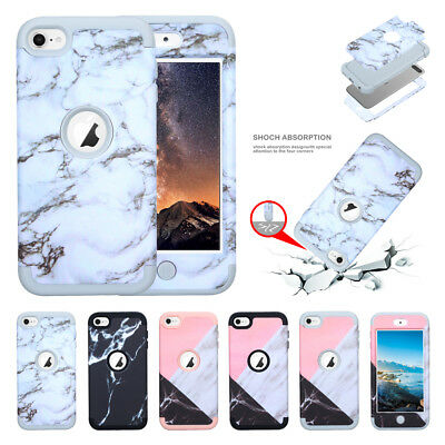 For iPod Touch 6 Case, Marble Series Hybrid Hard PC +Soft Silicone Protect Cover Ipod Case