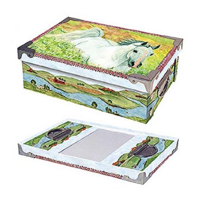 White Horse in Meadow Medium Snap Box  - Storage Box