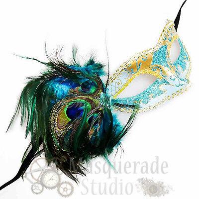 Women's Peacock Feathered Venetian Mardi Gras Masquerade Mask [Teal/Gold] (Mardi Gras Peacock Mask)