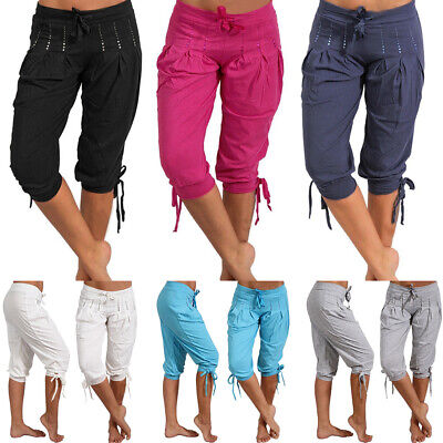Womens Summer Casual Loose Shorts Cropped Pants Bermuda Capri Trousers Plus Size Ladies Cropped Pants
