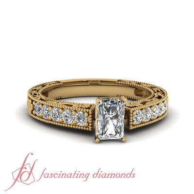 Yellow Gold Radiant Cut Diamond Engraved Pave Set Engagement Ring 1 Carat GIA