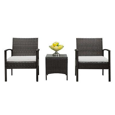 Rattan Wicker Furniture Set 3PC Cushioned Outdoor Garden Seat Patio Sofa Chair ()